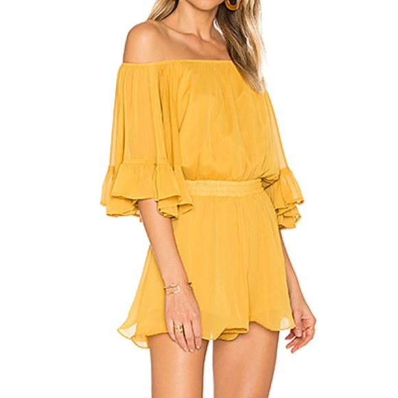 Endless Rose Pants - Endless Rose Romper Yellow Ruffle Sleeve Shorts